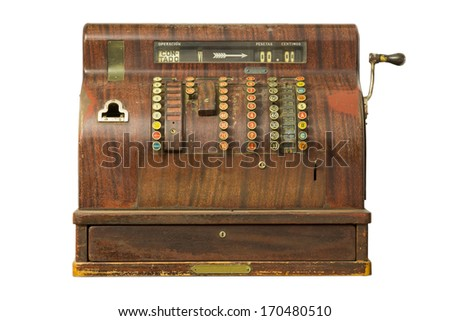 Old-time cash register in a shop. Isolated on white background. - stock photo
