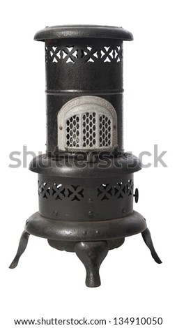 Old time kerosene burning space heater isolated on white background - stock photo