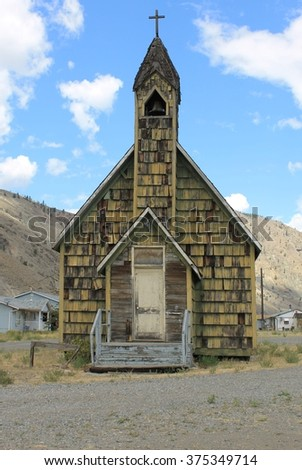 Old time wooden shake Church - stock photo