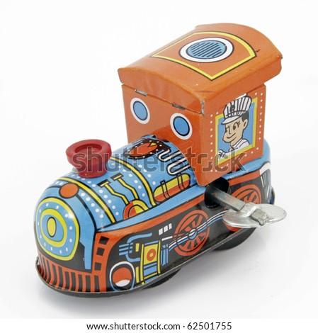 old tin toy train - stock photo
