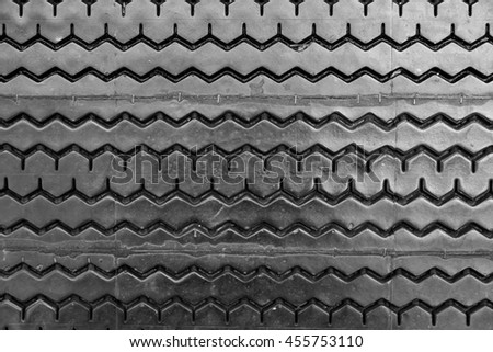 Old tire background , Non-Slip rubber pad made from old tire - Black and White - stock photo