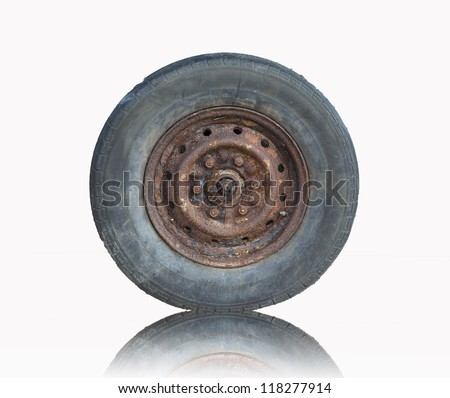 Old tire isolated on white background (with clipping path) - stock photo