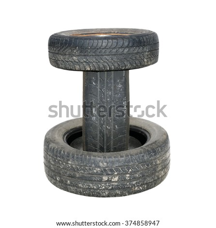 Old tires stacked, isolated on white background