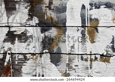 Old tobacco barn boards with textured black surface, large white splashes of paint, tan spots, knots, rusted hinge. Background. - stock photo