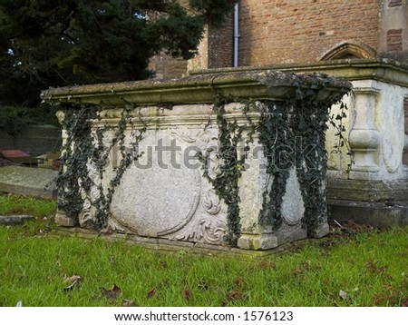 Old tomb covered in ivy - stock photo