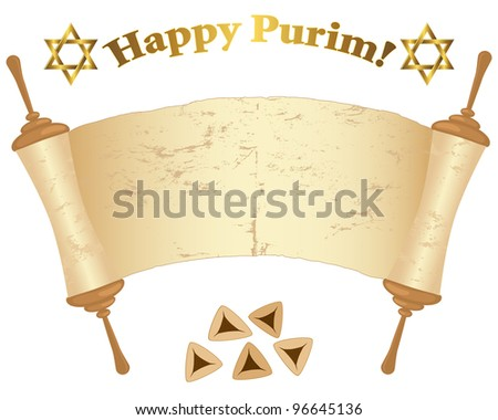Old Torah scroll, David stars and Pies isolated on white. Raster version.