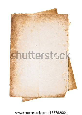 Old torn papers isolated on white background - stock photo