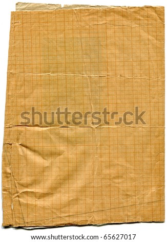 Old torn stained dirty graph paper isolated on white  background - stock photo