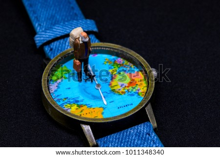 Old tourist backpack world map watches stock photo 1011348340 old tourist in backpack and world map watches around world travel photo banner senior gumiabroncs Image collections