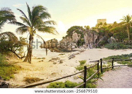Old touristic ruins at Tulum, Mexico - stock photo