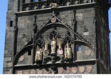 Old tower building. Powder Tower in Prague, Czech Republic. Tower details. - stock photo