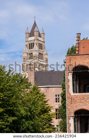 Old tower in Bruges,Belgium - stock photo
