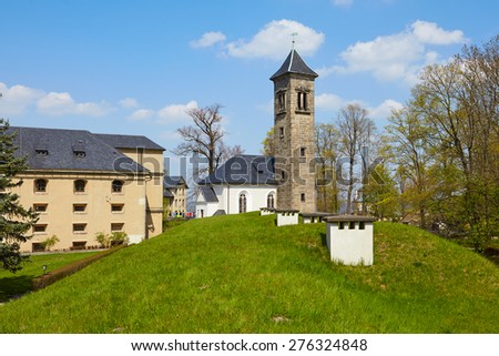 Old tower in fortress of Koenigstein, Saxon Switzerland, Germany - stock photo