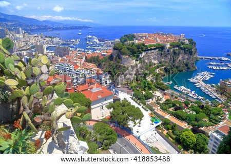 Old town and marina of Monaco seen from above, Monaco - stock photo