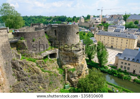 Old town and Wenzelsmauer in the City of Luxembourg - stock photo