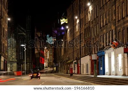 Old town at night. Edinburgh. Scotland. UK. - stock photo