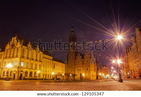 Old Town at night, Wroclaw, Poland.