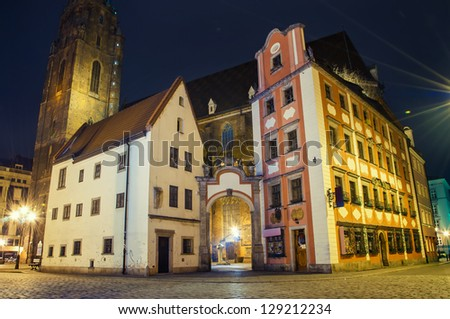 Old town at night, Wroclaw Poland.