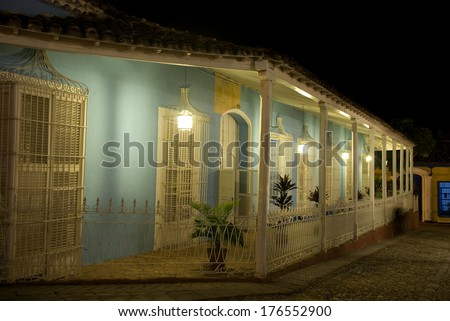 Old town by night, Trinidad, Cuba - stock photo