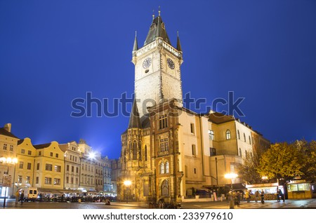 Old Town City Hall in Prague (Night view), view from Old Town Square, Czech Republic - stock photo