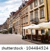 old town cobbled street, Warsaw, Poland - stock photo
