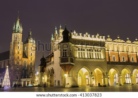 Old Town during Christmas in Cracow, Poland