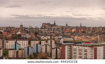 Old town Edinburgh in Scotland UK from top view