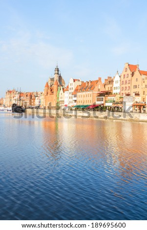 Old town embankment and river Motlawa, Gdansk ,  Poland