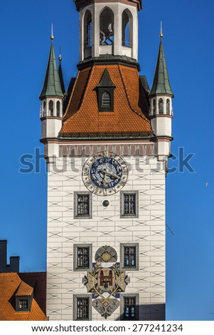 Old Town Hall (Altes Rathaus, 1470 - 1480) building at Marienplatz square in Munich. Munich is the capital and largest city of the German state of Bavaria. - stock photo