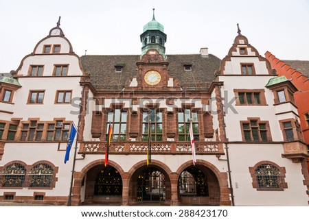 Old Town Hall (Altes Rathaus) in Freiburg im Breisgau city, Baden-Wurttemberg state, Germany. The building was completed in 1559 - stock photo