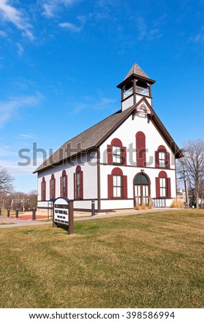 old town hall building of bloomington minnesota now history museum and grounds - stock photo