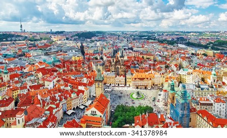 Old Town Hall(Staromestske namesti)is historic square in the Old Town quarter of Prague, the capital of the Czech Republic. It is located between Wenceslas Square and the Charles Bridge.Czech Republic - stock photo