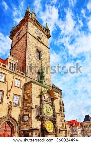Old Town Hall(Staromestske namesti)is historic square in the Old Town quarter of Prague, the capital of the Czech Republic.It is located between Wenceslas Square and the Charles Bridge.Czech Republic. - stock photo