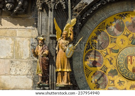 Old Town Hall Tower. Detail of the Prague astronomical clock (Prague orloj). Close up. - stock photo