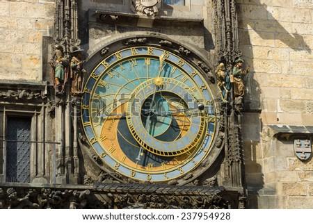 Old Town Hall Tower. Prague astronomical clock (Prague orloj). Close up. - stock photo