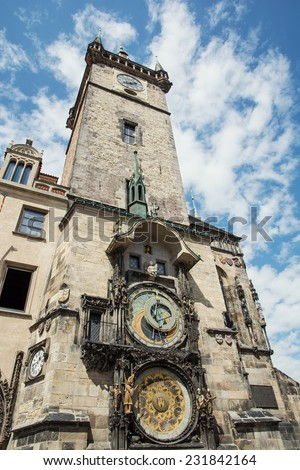 Old town hall with astronomical clock in Prague. Czech republic, Europe. - stock photo