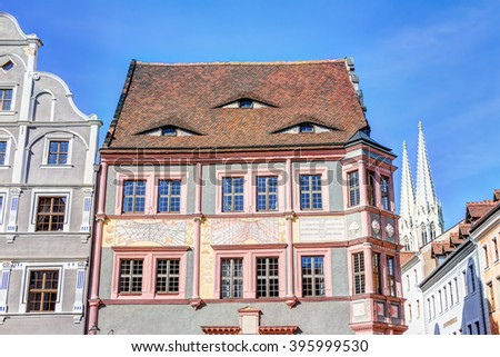 Old town houses and sundial in Gorlitz, Germany