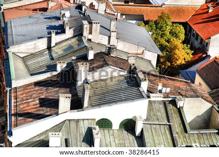 Old Town houses, view from above, Krakow, Poland - stock photo