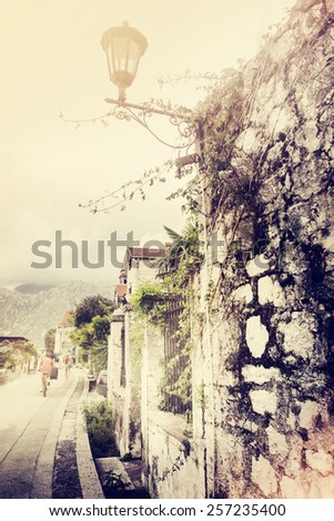 Old town in Europe with retro vintage effect - stock photo