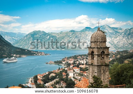Old town in mountains in Kotor - stock photo
