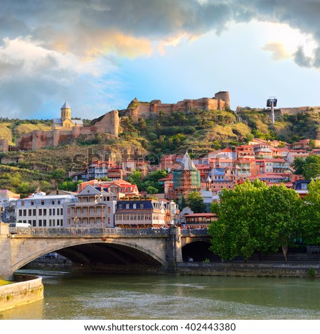 Old Town in the capital of Georgia, Tbilisi in the evening. Caucasus. - stock photo