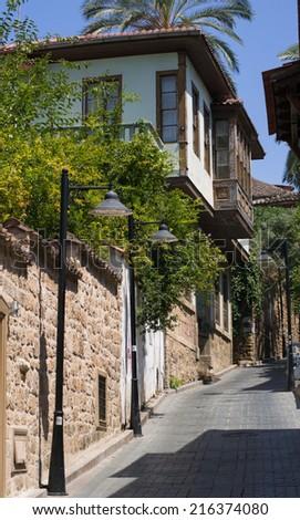 Old town Kaleici in Antalya, Turkey - travel background - stock photo