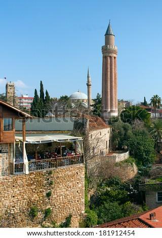 Old town Kaleici with fluted minaret in Antalya, Turkey  - stock photo