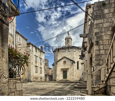 Old Town Korcula at Croatia. Southern Dalmatia - stock photo