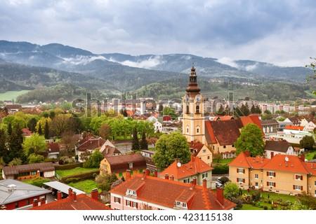 Old town landscape in Alps, Leoben, Austria - stock photo