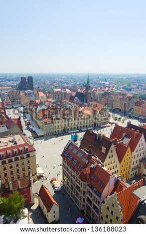 old town market  square from above cityscape, Wroclaw, Poland