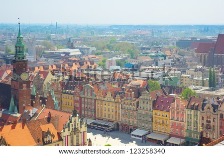 old town market  square from above, Wroclaw, Poland
