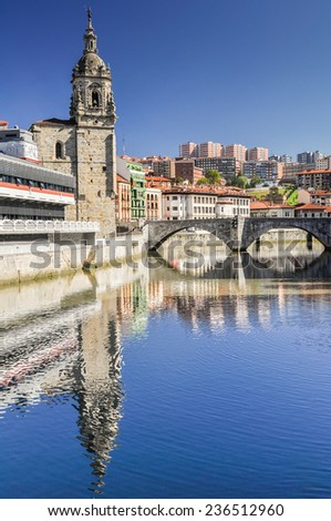 Old town of Bilbao, Basque Country (Spain) - stock photo