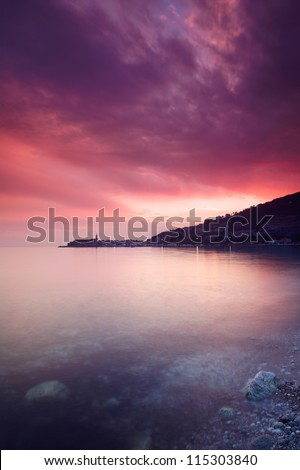 Old town of Budva in the sunset - stock photo
