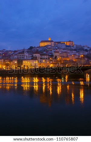 old town of Coimbra at night, Portugal
